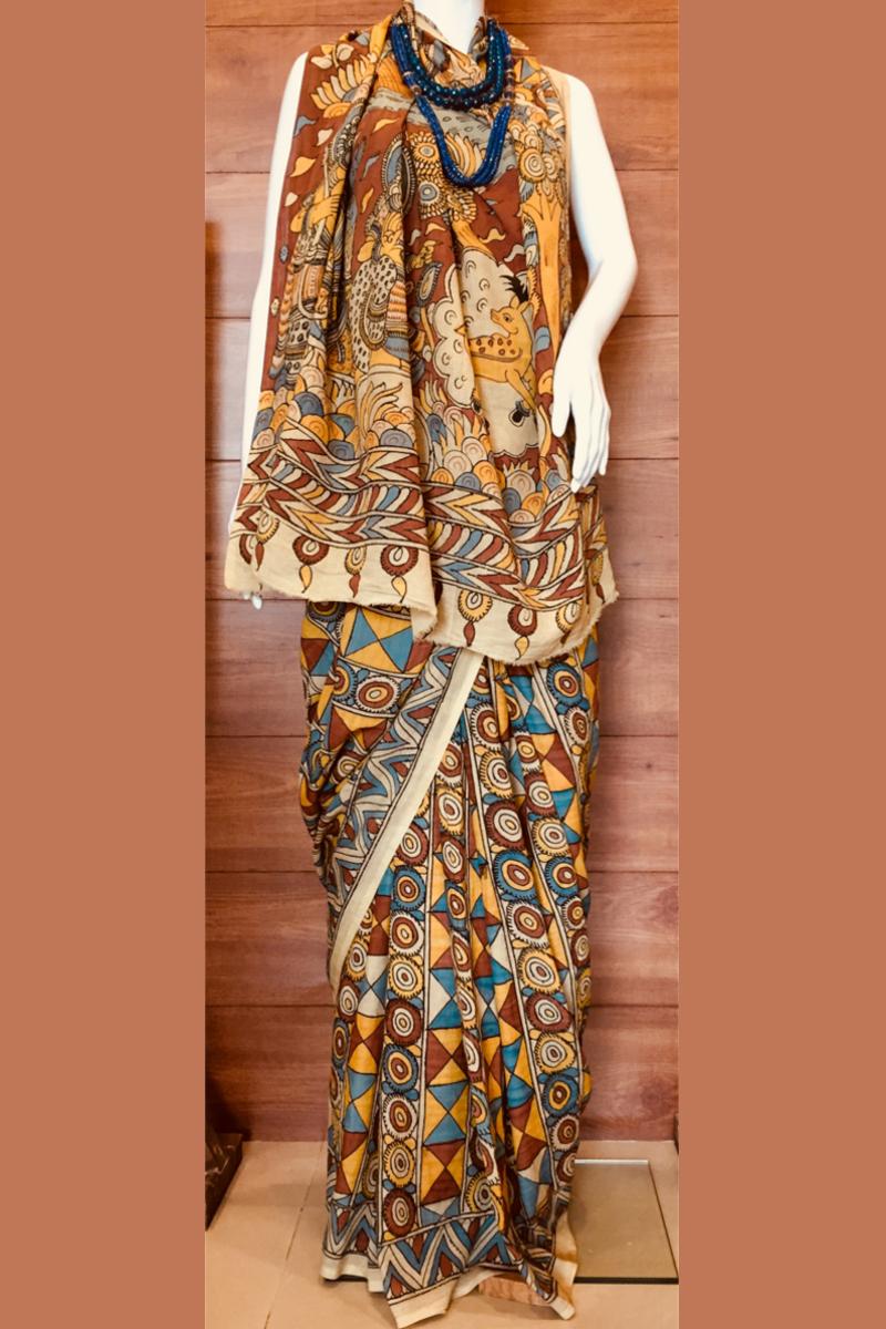 Kalamkari Chenoori Silk Saree