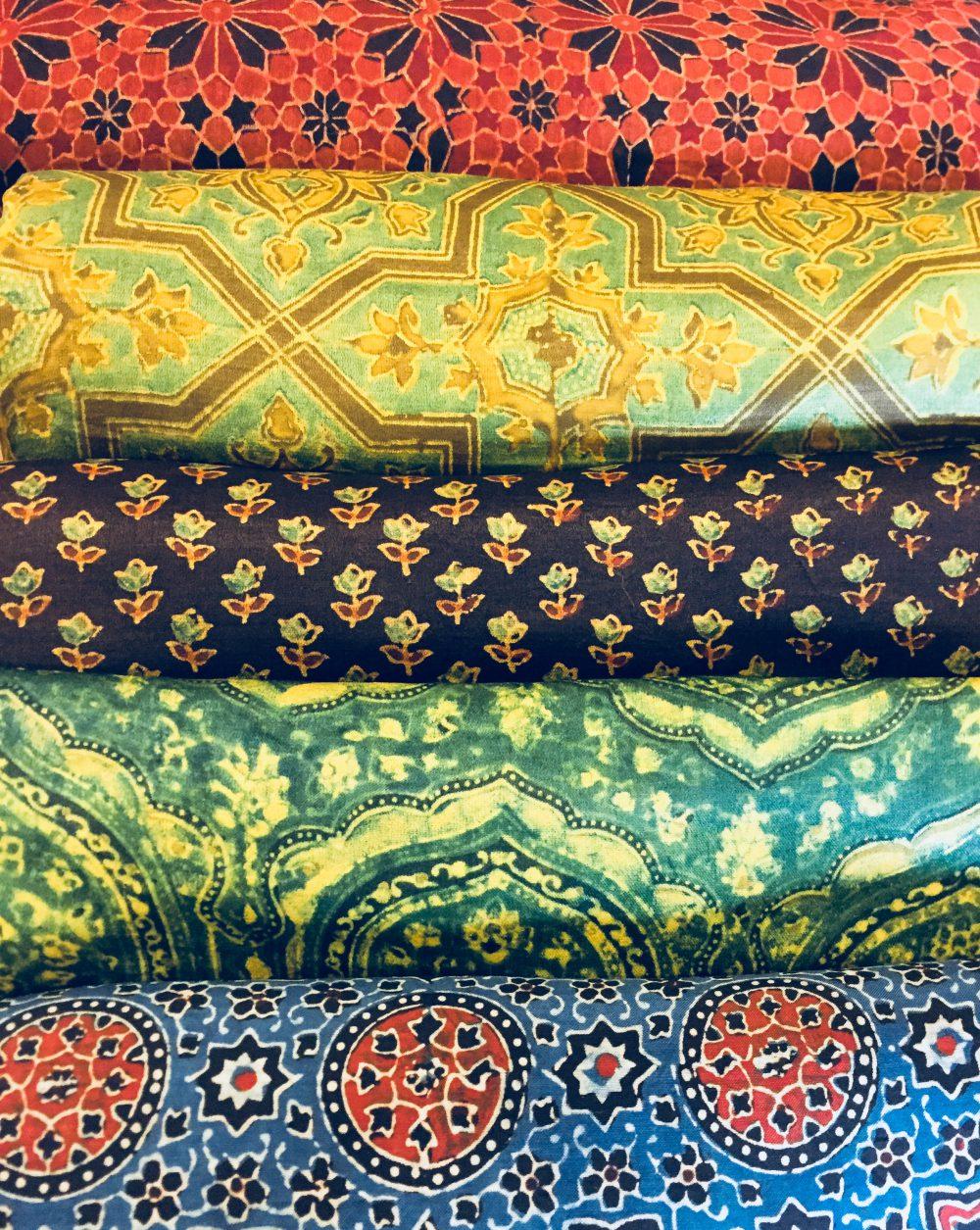 Ajrakh Cotton Silk Fabric