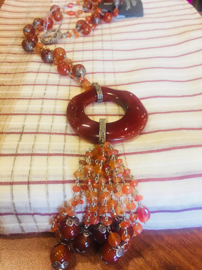 Handcrafted Carnelian Beads with Carnelian Pendant Silver Neck piece
