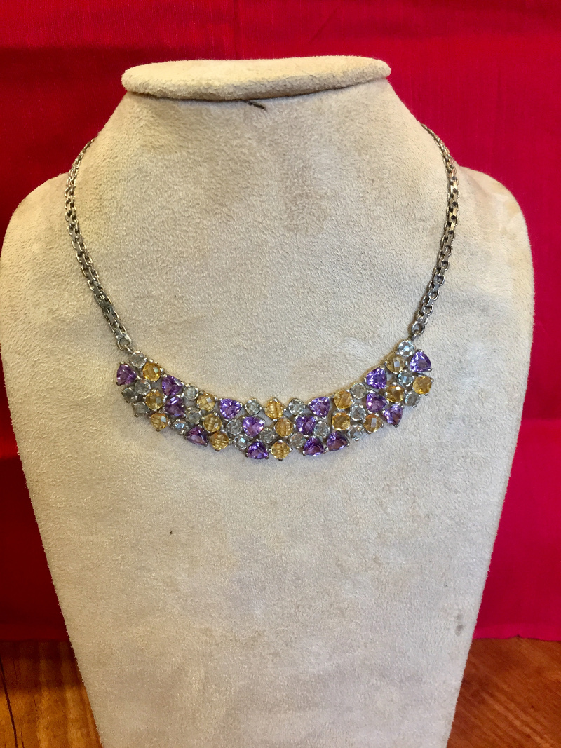 Handcrafted Amethyst, Citrine & Aquamarine Natural stones Silver Necklace