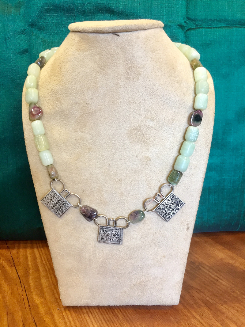 Handcrafted Chalcedoney Drums, Tourmaline Tumbles & Silver Pendants Necklace
